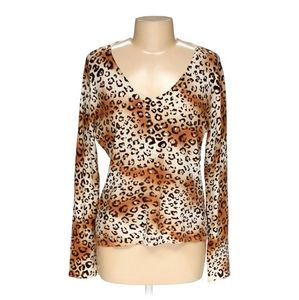 Style&co. Animal Print w/Sequins Top Brown Beige